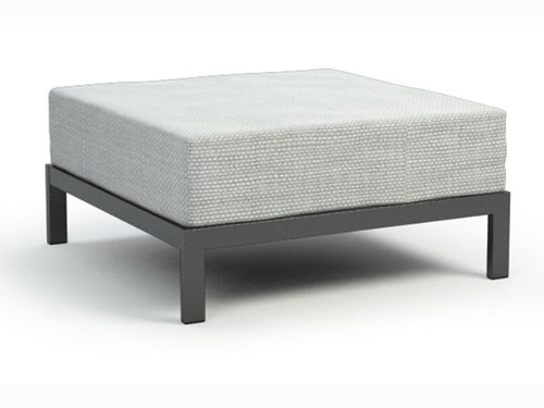 Homecrest Allure Modular Aluminum Ottoman- As shown with the Ultracore Cushion in Alloy fabric and the aluminum frame in a powder coated Carbon finish.
