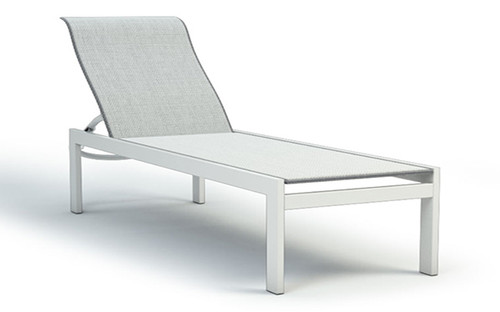 Homecrest Elements Aluminum Armless Adjustable Chaise- As shown Alloy sling fabric and Glacier white powder coated frame.
