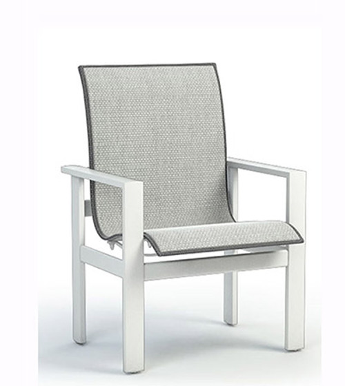 Homecrest Elements Low Back Dining Chair- As shown Alloy grade A sling fabric and Glacier white aluminum frame.