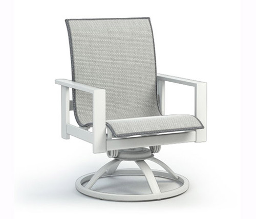 Elements Aluminum Low Back Swivel Chair- Outdoor chair shown in all weather sling fabric Alloy and aluminum frame in Glacier white.
