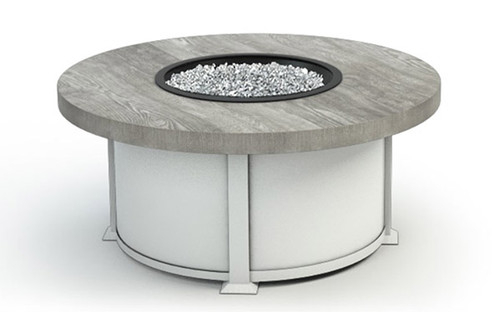 Homecrest 42 Inch Round Timber Fire Table- As shown with driftwood cast top and glacier white aluminum base.