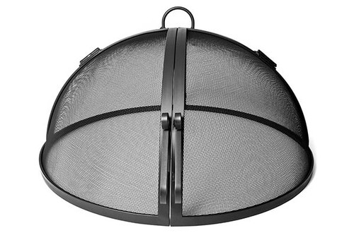 Hinged Round Steel Fire Pit Spark Screen- As shown in solid carbon steel frame powder coated with high heat resistant powder coated black finish.