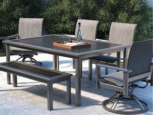 Homecrest Elements Aluminum Outdoor Dining Set- As Shown Dockside aluminum table and bench in carbon powder coated finish and Elements dining and swivel rocker chairs with agate sling fabric.
