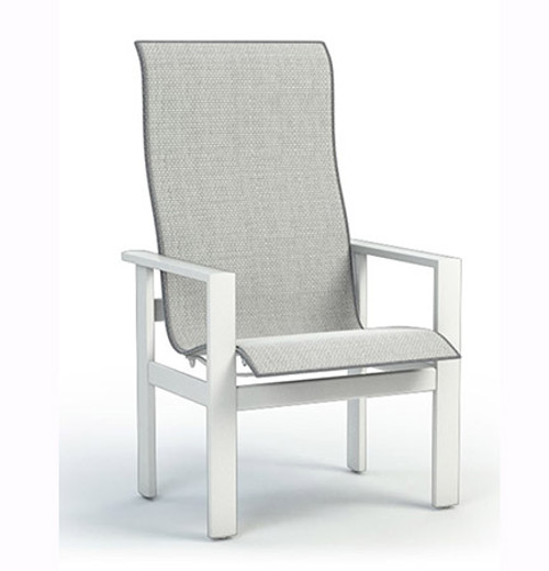 Homecrest Elements Aluminum High Back Outdoor Dining Chair- As shown with the  Glacier white powder coated aluminum frame and Alloy grade A sling fabric seat.