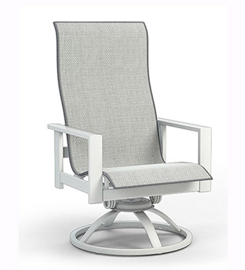 Homecrest Elements Aluminum High Back Swivel Rocker Outdoor Dining Chair- As shown Glacier white powder coated aluminum frame with the Alloy sling fabric seat.