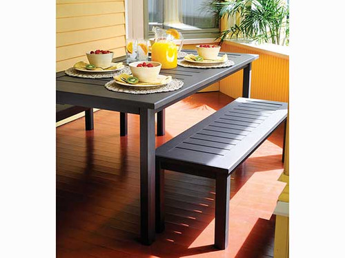 Dockside Aluminum Outdoor Dining Set With Two Bench Seats- As shown coastal slat top design in powder coated Carbon color finish.