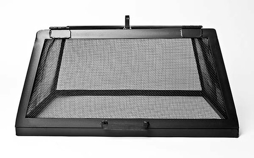 Square Fire Pit Spark Screen With Door- Ash shown Carbon Steel Black Finish (Front View)