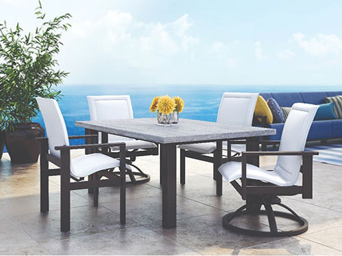 Homecrest Outdoor Elements Outdoor Dinning Set- As  Shown Driftwood  (Natural Series) Table Top Onyx Black Powder Coated Aluminum Frames and Table Base, Sling Elements Dinning and Swivel Rocker Chairs.