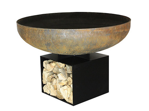 """Iron Blossom Wood Burning Fire Pit- As shown with  36 diameter fire bowl and flat black powder coated 1/4"""" steel base storage compartment."""