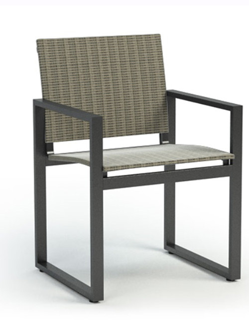 Homecrest Allure Sling Aluminum Cafe Arm Chair: As Shown  With Bossa Nova Fabric And Carbon Aluminum Frame