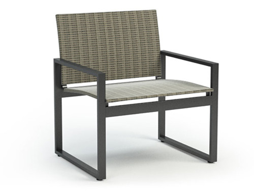 Homecrest Allure Sling Aluminum Chat Chair: Bossa Nova Fabric and Carbon Aluminum Frame