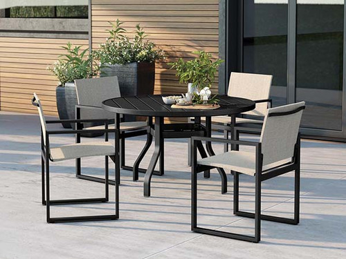 Homecrest Allure Aluminum Outdoor Dining Set: As shown Allure Alloy Sling Cafe Chairs and Breeze 48 inch dining table in Onyx.