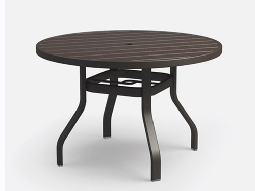 Homecrest Breeze Aluminum 48  Inch Outdoor Dining Table: As shown in Cognac aluminum powder coated finish