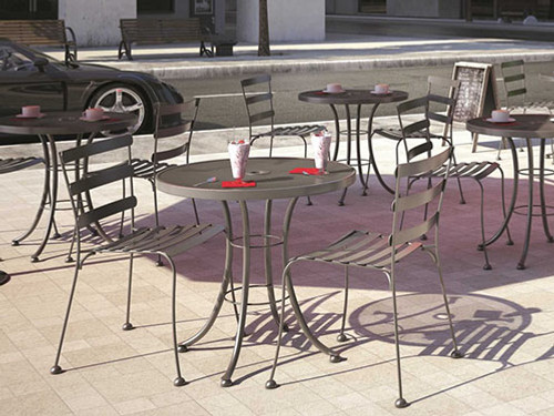 "Homecrest Wynn Steel Outdoor Dining Bistro Set: As shown Wynn Armless Cafe Chair's and the Steel Mesh 30"" Round Cafe Table in a powder coated Storm finish."