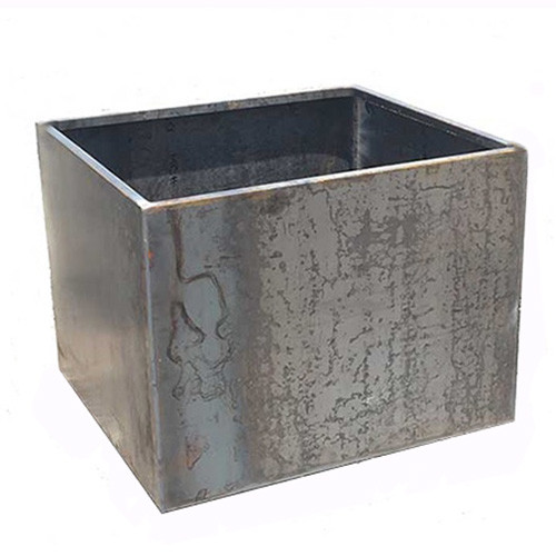 Yard Couture Raw Corten Steel Symmetrical Cube Planter Box: Picture Shown In Raw Corten Steel Pre Patina.