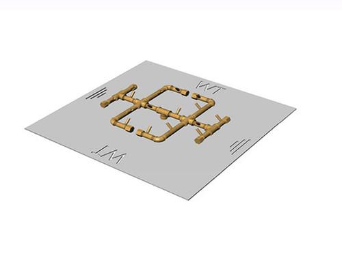 180K BTU Crossfire Burner: Picture Shown With 30 Inch Square Aluminum Plate and 180K BTU 100 Percent All Brass Burner.