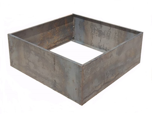 """Raised Corten Steel Planter Bed Kit 48"""" X 48"""":  Open bottom planter as shown in 14 gauge corten steel with hex bolts and overlapping corners."""