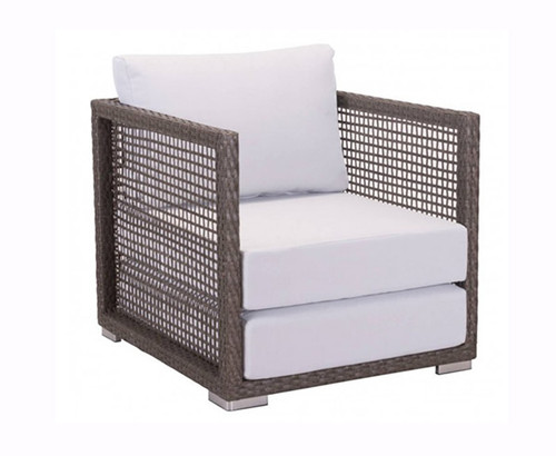 Zuo Coronado Arm Chair Cocoa Outdoor Patio Chair: Outdoor Open Basket Weave Over Galvanized Aluminum Frame Light Gray Cushions.