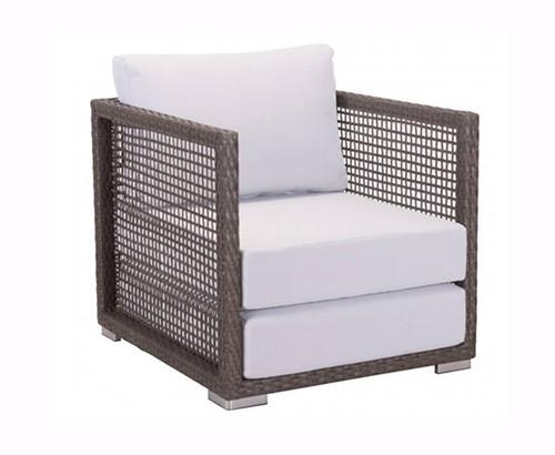 Zuo Coronado Arm Chair Cocoa Outdoor Patio Chair: Outdoor Open Basket Weave Over Galvanized Aluminum Frame Light Gray Cushions.