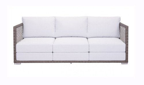 Zuo Coronado Cocoa Outdoor Sofa Lounge Seating Gray Cushions Front Profile