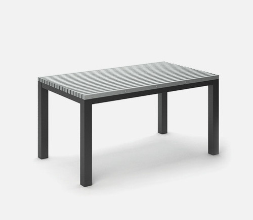 Rectangular Eden Homecrest Café Table Post Aluminum Base: As Shown in Carbon Aluminum Base and Light Gray Slat Top.