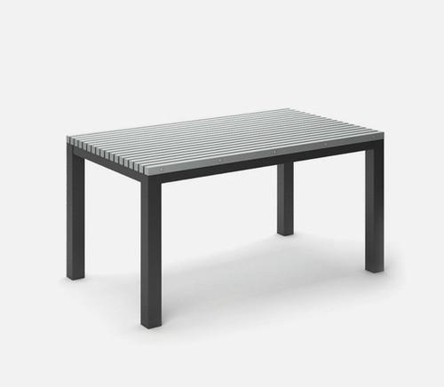 Rectangular Eden Homecrest Café Table Post Aluminum Base: As Shown in Carbon Aluminum Base and Light Gray Slat Top.