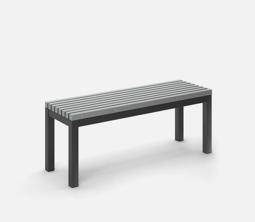 Rectangular Eden Café Bench Homecrest Post Aluminum Base: As shown Carbon aluminum base and Light Gray slat top.