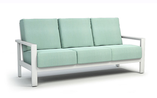 Homecrest Elements Aluminum Arm Cushion Sofa: As shown with the Glacier White Powder Coated Aluminum Frame and The Sunbrella Canvas Spa Fabric Cushions.
