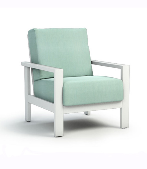 Homecrest Elements Aluminum Cushion Arm Chat Chair : As Shown with the Glacier White Powder Coated Aluminum Frame and the Canvas Spa Fabric.