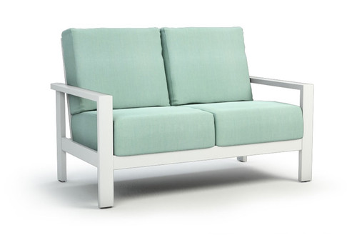 Homecrest Elements Aluminum Arm Cushion Loveseatr: As shown with a  Glacier White Frame and the Canvas Spa Sunbrella Fabric.