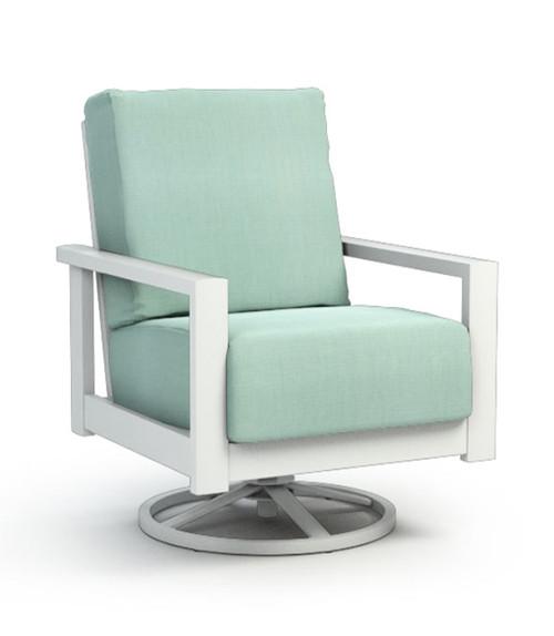 Homecrest Elements Aluminum Arm Cushion Swivel Rocker Chair: As shown Glacier Aluminum Frame and Canvas Spa Sunbrella Fabric.