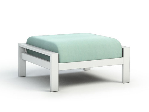Homecrest Elements Aluminum Ottoman: As shown in Glacier White Powder Coated Aluminum Frame and Canvas Spa DreamCore Fabric