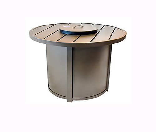 Homecrest Aluminum Breeze Fire Table: As shown in the Cognac brown powder coated finish and the matching aluminum lid.