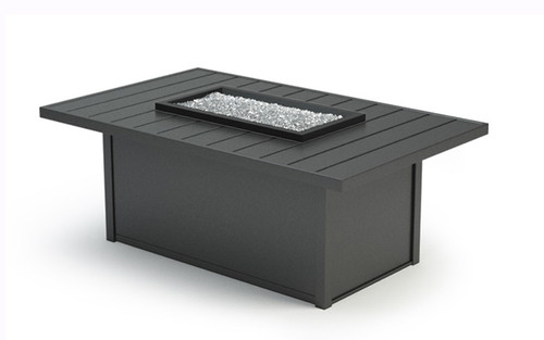 Homecrest Breeze Aluminum Fire Table 52 x 32: As shown in the Carbon aluminum powder coated finish with the Crystal Ice 1/4 inch fire glass.