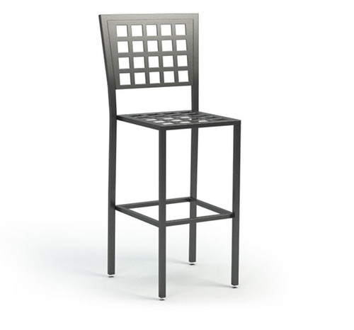 Homecrest Manhattan Steel Armless Bar Stool: As Shown with Checkered Seat without Padding in Carbon Powder Coated Steel.