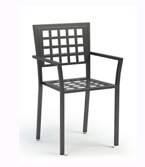 Homecrest Stackable Manhattan Steel Cafe Chair: As shown in the Carbon steel finish with the checkered seat.