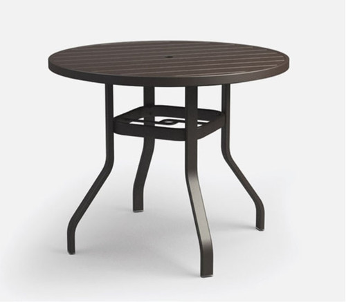 "Homecrest Breeze Aluminum Bar 40"" Height: As shown 42 Inch Round Top Outdoor Dining Table In the Carbon Aluminum Finish."