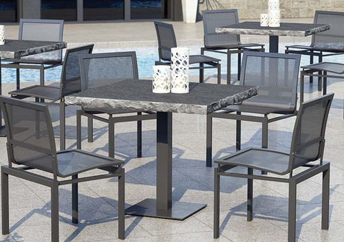 "Allure Mesh Aluminum Dining Set: As Shown Allure Mesh Outdoor Stack-able Chairs and Table Base in Carbon Finish and the 36"" Slate Table Top with the Drift Finish"