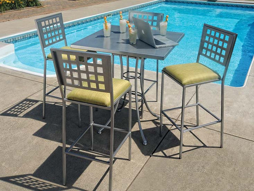 Homecrest Manhattan Aluminum Bar Table Set: Set shown in the Storm grey powder coated finish and the Manhattan chairs with the padded seat option.