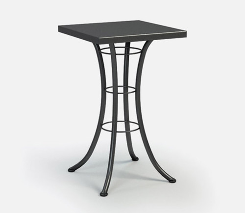 Homecrest Embossed Aluminum Square Bar Table: As shown 24 inch aluminum top and steel base in the Carbon grey color finish.