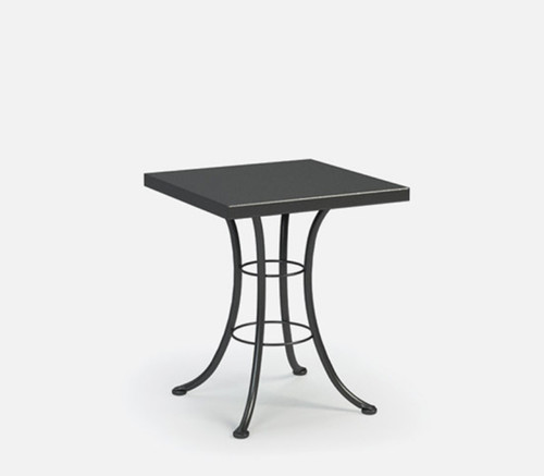 "Homecrest Embossed Aluminum 24 Inch Square Cafe Height Table: As shown with 24"" squared aluminum top with steel base in the Carbon grey finish."