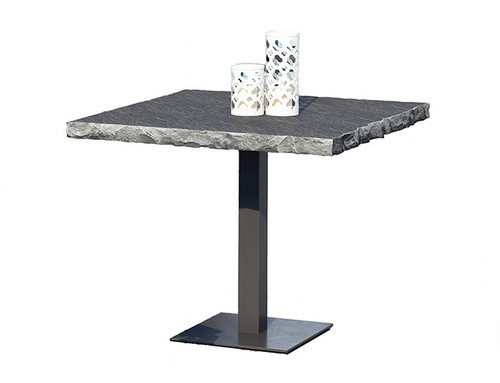 Homecrest Slate Patio Cafe Table 36 inch: As shown 36 inch squared table top in Drift and the and the 29.75 inch height aluminum pedestal base in the powder coated carbon finish.