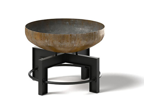 "The Lowell outdoor wood burning fire pit a modern industrial design: 36"" steel bowl natural rust steel and base in the powder coated black."