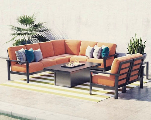 Homecrest Elements Modular Aluminum Cushional Sectional Patio Set: As shown black Onyx aluminum frame, canvas Rust Sunbrella fabric and the black 60-in Length Mode Fire Table.