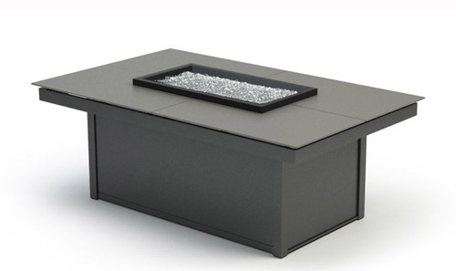"""Homecrest Mode Aluminum Rectangular Fire Pit Table: As shown in the 19""""  coffee height, powder Storm Top and Carbon Gray base."""