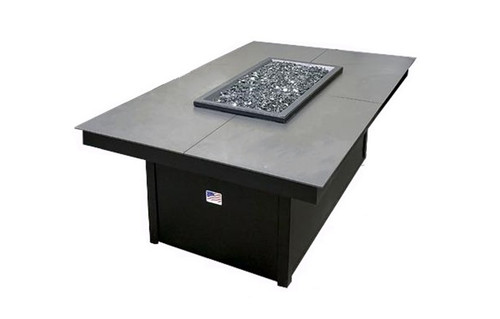 Homecrest Mode Aluminum Gas Fire Pit Table: As shown base color Onxy Black and top Storm Gary powder coated aluminum finish.