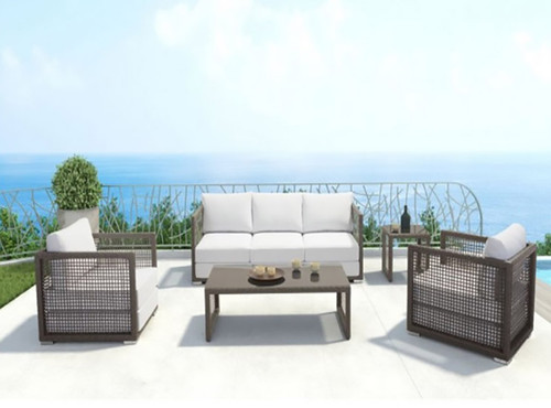 Zuo Modern Coronado Patio Set Collection: As shown in Cocoa brown synthetic weave and Light Gray Double Cushions.