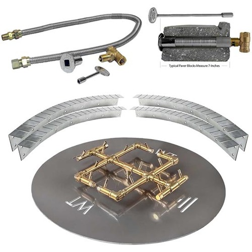 Warming Trends Circular Paver Kit: As shown with circular aluminum fire pan key valve kit and flexible installation collars.