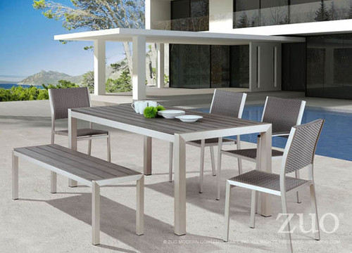 Zuo Modern Outdoor Metropolitan Aluminum Faux Wood Dining Set: As shown with brushed aluminum frames and the bench and table top in a faux wood finish.