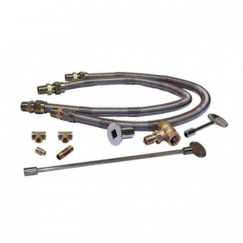 Warming Trends Dual Flex Line Kit DFLKV34FIT250: (2) 36-inch long by 3/4-Inch diameter flex lines, a 3/4-inch key valve, a 4-inch valve key, a 12-inch valve key, (1) 3/4-inch by 1/2-inch MM reducer fitting, (1) 3/4-inch tee for connection at 1/2-inch plate coupling, (1) 3/4-inch by 3-inch nipple, and (1) 3/4-inch tee